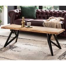 wohnling couchtisch wl5 620 115x46x67 cm akazie baumkante sofatisch wohnzimmertisch massivholz metall modern stubentisch braun schwarz