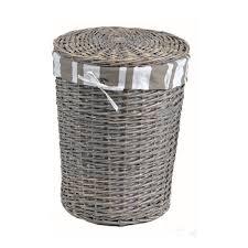 panier linge rond cylindrique en rotin peint gris et tissus