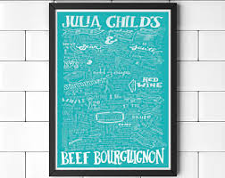 Julia Childs Beef Bourguignon Recipe Art Print Hand Drawn Lettered