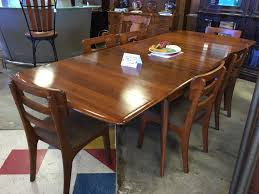 1961 Bissman Walnut Table With Six Chairs And Three Leaves ...