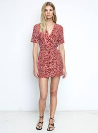 faithfull the brand luna dress u2013 pin up bow print red just in