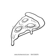 Pizza slice with melted cheese and pepperoni Hand drawn doodle Cartoon
