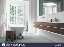 moderne helle sonnige weiße badezimmer interieur mit wand