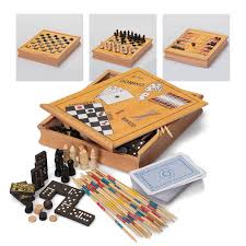 Classic Games Compendium Wooden Box Chess Draughts Dominoes