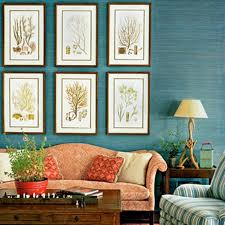 Teal Living Room Ideas by Plant Inspired Wall Hangings With Classic Orange Camel Back Sofa