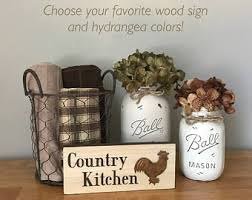Mason Jar Kitchen Set Rooster Decor Wood Signs