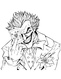 Joker Holding Playing Card Coloring Page
