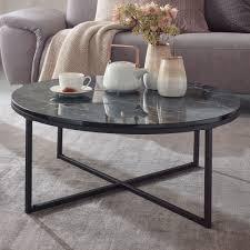 wohnling couchtisch 80x36x80 cm mit marmor optik schwarz wohnzimmertisch mit metall gestell sofatisch rund tisch wohnzimmer beistelltisch