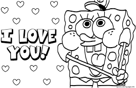 Sponge Bob I Love You Valentine Day Coloring Pages