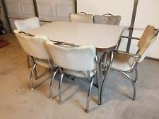 1940S 1950S VINTAGE KITCHEN TABLE WITH 6 CHAIRS ORIGINAL