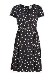 elspeth polka dot floral tea dress wrap front joanie clothing
