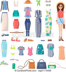 Modern Young Girl With Big Summer Outfits Set Vector