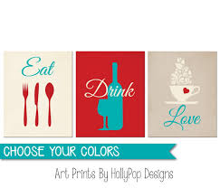 Wine Kitchen Decor Sets by Amazon Com Eat Drink Love Red Turquoise Wall Art Red Kitchen