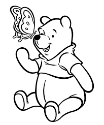 Winnie The Pooh And Butterfly New Bear Coloring Pages