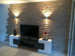 steinwand naturstein wandgestaltung wohnzimmer