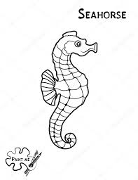 Childrens Coloring Book That Says Paint Me Sea Life Seahorse Stock Vector