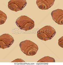 Chocolate Croissants Pain Au Chocolat Hand Draw Sketch Seamless Pattern Vector