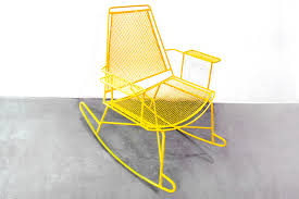 SOLD - Mid-Century Metal Mesh Patio Rocking Chair - Rehab Vintage ...
