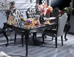 casa padrino luxus barock esszimmer set silber grau schwarz 1 esstisch 6 esszimmerstühle esszimmermöbel im barockstil luxus qualität