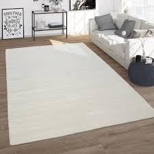wohnzimmer teppich kurzflor teppich aus wolle handgewebt einfarbig in weiß