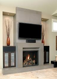 solus block concrete fireplace surround with wall tiles and hearth
