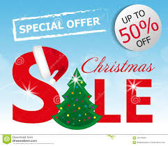 Download Blue Background Red Christmas Sale Banner With Tree And Santa Hat Vector Stock