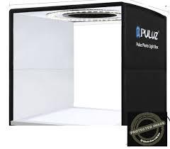 104 Studio Tent Puluz 25cm Folding Portable Ring Led Photo Lighting Box Shadowless Light Lamp Panel Pad With 12 Colors Backdrops Size 25cm X 25cm X 25cm Black Rl25 Gadget Mou