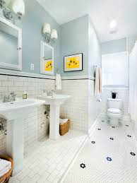 1930s bath with original hexagonal tile subway tile