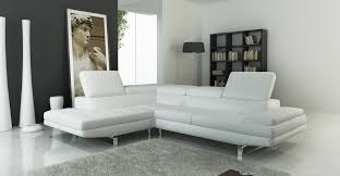 White Sectional Living Room Ideas by 959 Modern White Italian Leather Sectional Sofa