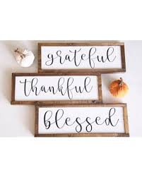 Grateful Thankful Blessed Wood Sign Fall Decor Signs