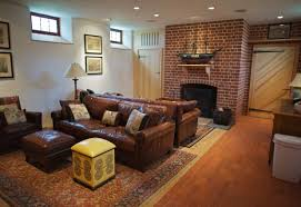 basement family room decorating idea brown leather sofa set home