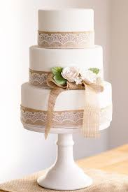 Rusticwhite Wedding Cake With Burlap Lace Details