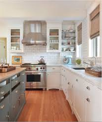Blue Gray Kitchen Island Storage Butcher Block Countertops White Glass Front Cabinets Marble Subway Tiles Backsplash Stainless Steel