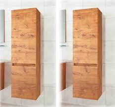 details zu 2x seitenschrank hochschrank badmöbel badschrank eiche dunkel badezimmer 110 cm