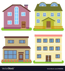 100 Four Houses Set Of Four Private Houses Royalty Free Vector Image