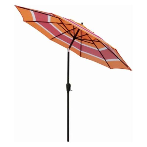 March Products Steel Frame Patio Market Umbrella - Orange Stripe