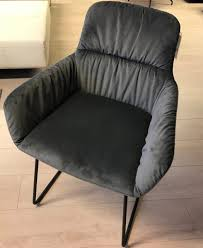 esszimmer stuhl stoff grau füße metall schwarz 6 stühle