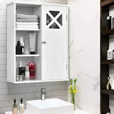 costway haengeschrank aus holz badezimmerschrank haengend wandschrank weiss badschrank mit verstellbarem einlegeboden badezimmer schrank 1 tuerig