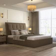 Thorpe Upholstered Storage Bed King Size Mist Brown