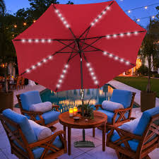 Solar Lighted Offset Patio Umbrella by Solar Powered 32 Led Lighted Outdoor Patio Umbrella With Crank And
