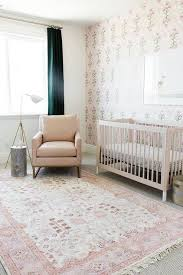 Pink and Beige Nursery with Blackout Curtains Transitional Nursery