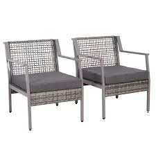 Outsunny 2 Piece Aluminum Rattan Wicker Outdoor Patio Cushioned Chair  Furniture Set - Grey Patio Chairs At Lowescom Outdoor Wicker Stacking Set Of 2 Best Selling Chair Lots Lloyd Big Cushions Slipcove Fniture Sling Swivel Decoration Comfortable Small Space Sets For Tiny Spaces Unique Cana Qdf Ding Agio Majorca Rocker With Inserted Woven Alinium Orlando Charleston Myrtle White Table And Seven Piece Monterey 3 0133354 Spring China New Design Textile