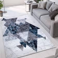 wohnzimmer teppich modernes design blau grau kurzfloorig cel007