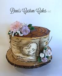 Rustic Birch Tree Stump Engagement Cake