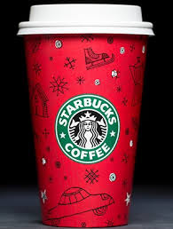 The Candy Apple Red Starbucks Holiday Cup Makes Its First Appearance In This Whimsical Design With Black Line Drawings Of Snowflakes Stockings And Winter