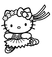 Hello Kitty Dancing Coloring Pages For Kids Printable Free