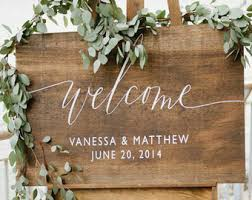 Wooden Wedding Welcome Sign With Names And Date