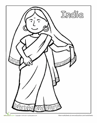 Indian Traditional Clothing Coloring Page