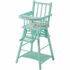 chaise bebe bois chaise haute transformable en bois massif laqué vert menthe