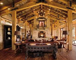 KitchenTraditional Living Room With Rustic Wood Ceiling Also Leather Coated Sofa And Sandstone Fireplace